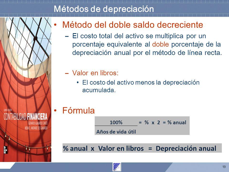 19 Métodos de depreciación Método del doble saldo decreciente –El costo total del activo se multiplica por un porcentaje equivalente al doble porcentaje de la depreciación anual por el método de línea recta.