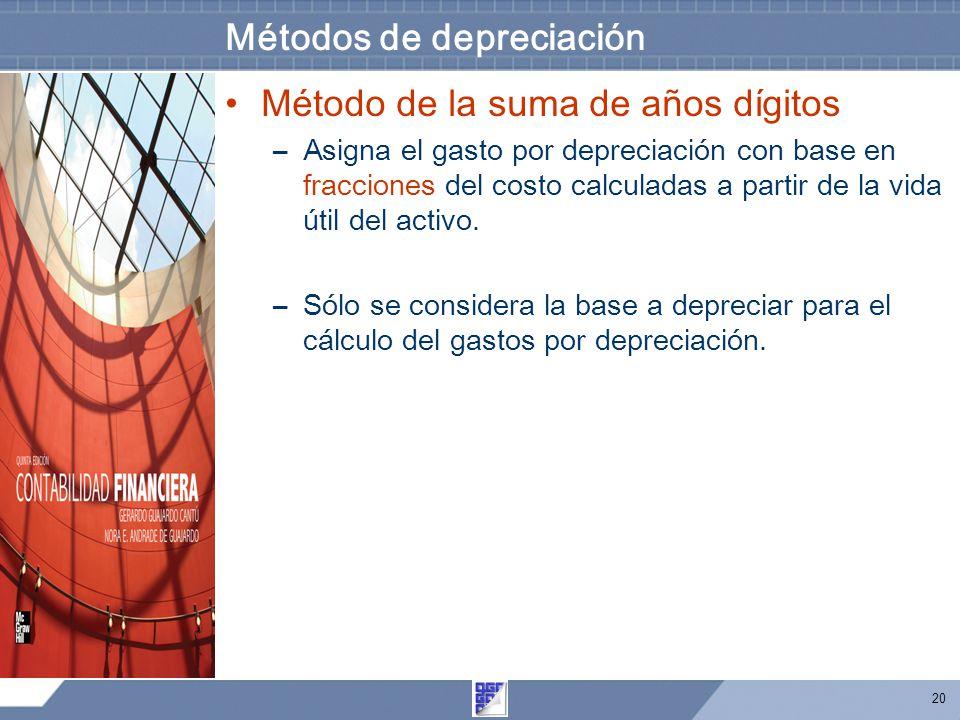 20 Métodos de depreciación Método de la suma de años dígitos –Asigna el gasto por depreciación con base en fracciones del costo calculadas a partir de la vida útil del activo.