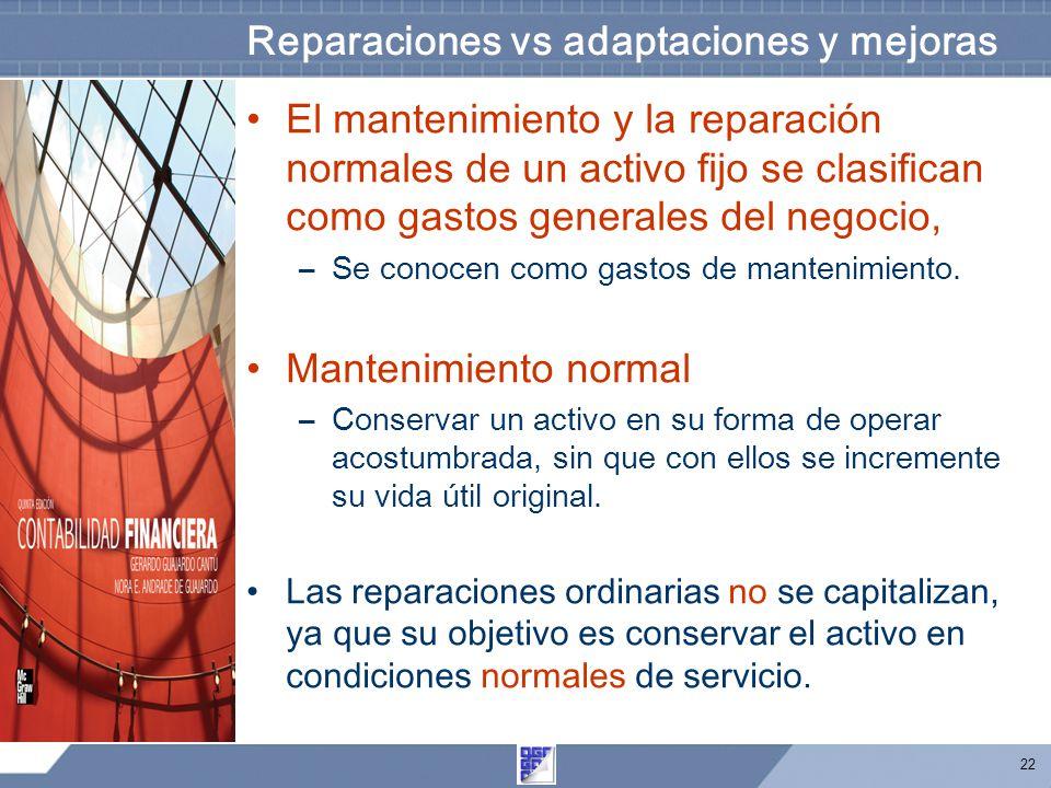 22 Reparaciones vs adaptaciones y mejoras El mantenimiento y la reparación normales de un activo fijo se clasifican como gastos generales del negocio, –Se conocen como gastos de mantenimiento.