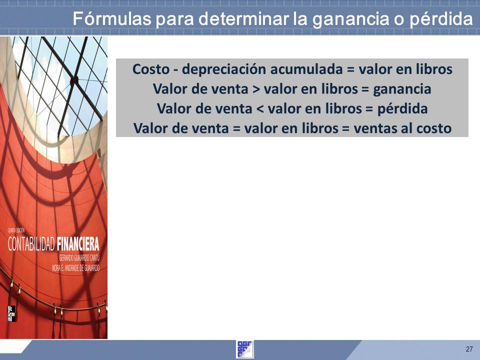 27 Fórmulas para determinar la ganancia o pérdida Costo - depreciación acumulada = valor en libros Valor de venta > valor en libros = ganancia Valor de venta < valor en libros = pérdida Valor de venta = valor en libros = ventas al costo