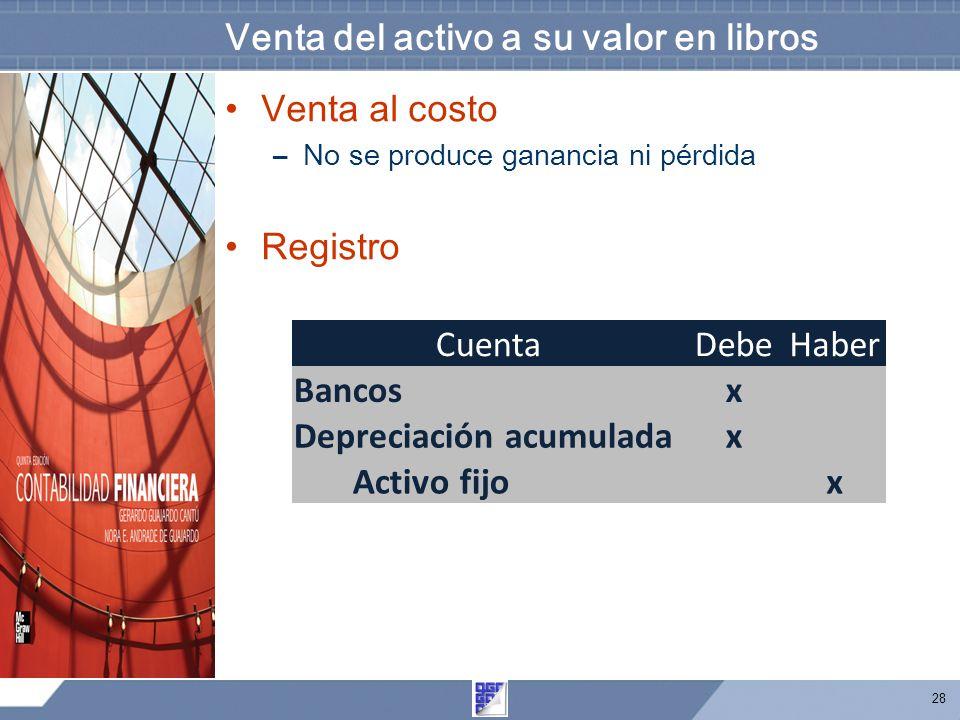 28 Venta del activo a su valor en libros Venta al costo –No se produce ganancia ni pérdida Registro CuentaDebeHaber Bancosx Depreciación acumuladax Ac