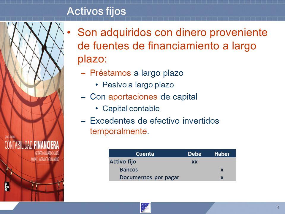 3 Activos fijos Son adquiridos con dinero proveniente de fuentes de financiamiento a largo plazo: –Préstamos a largo plazo Pasivo a largo plazo –Con aportaciones de capital Capital contable –Excedentes de efectivo invertidos temporalmente.