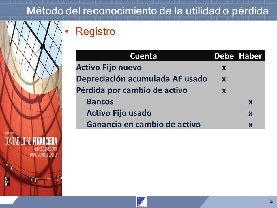 34 Método del reconocimiento de la utilidad o pérdida Registro CuentaDebeHaber Activo Fijo nuevox Depreciación acumulada AF usadox Pérdida por cambio de activox Bancos x Activo Fijo usado x Ganancia en cambio de activo x