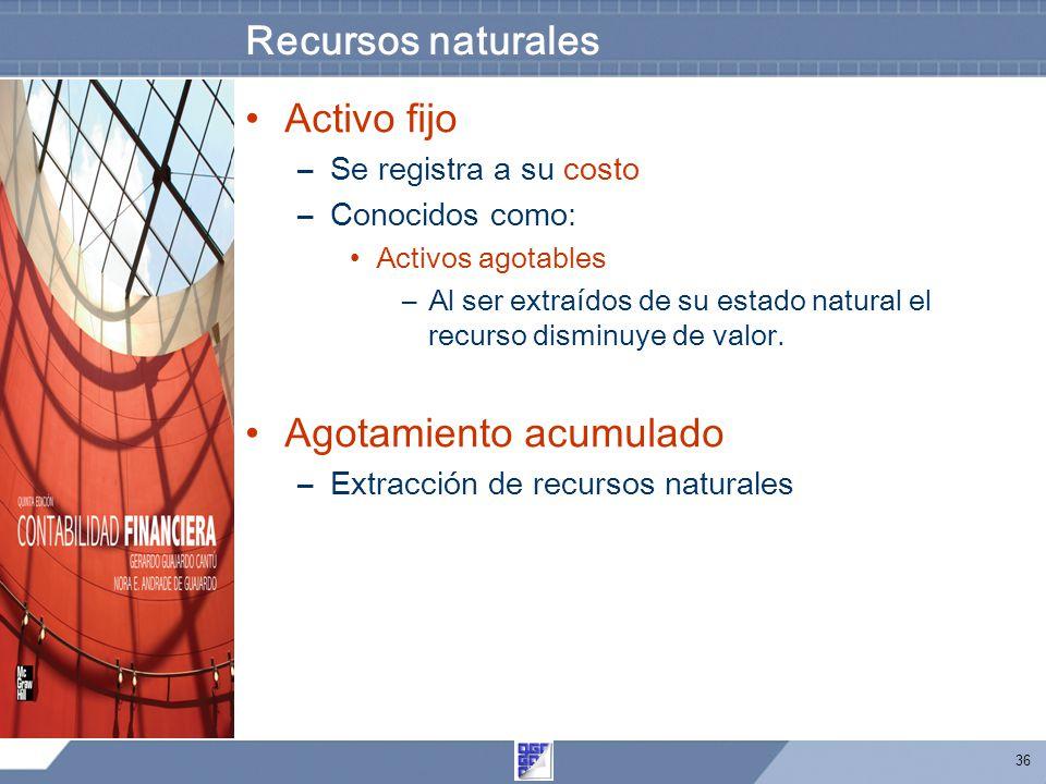 36 Recursos naturales Activo fijo –Se registra a su costo –Conocidos como: Activos agotables –Al ser extraídos de su estado natural el recurso disminuye de valor.