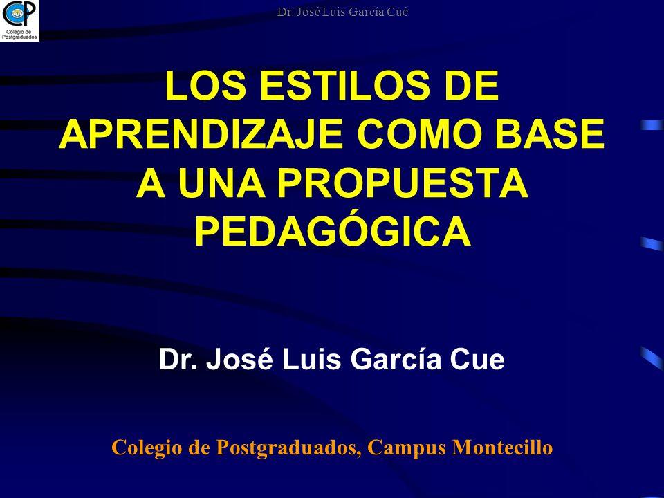 LOS ESTILOS DE APRENDIZAJE COMO BASE A UNA PROPUESTA PEDAGÓGICA Dr. José Luis García Cue Colegio de Postgraduados, Campus Montecillo Dr. José Luis Gar