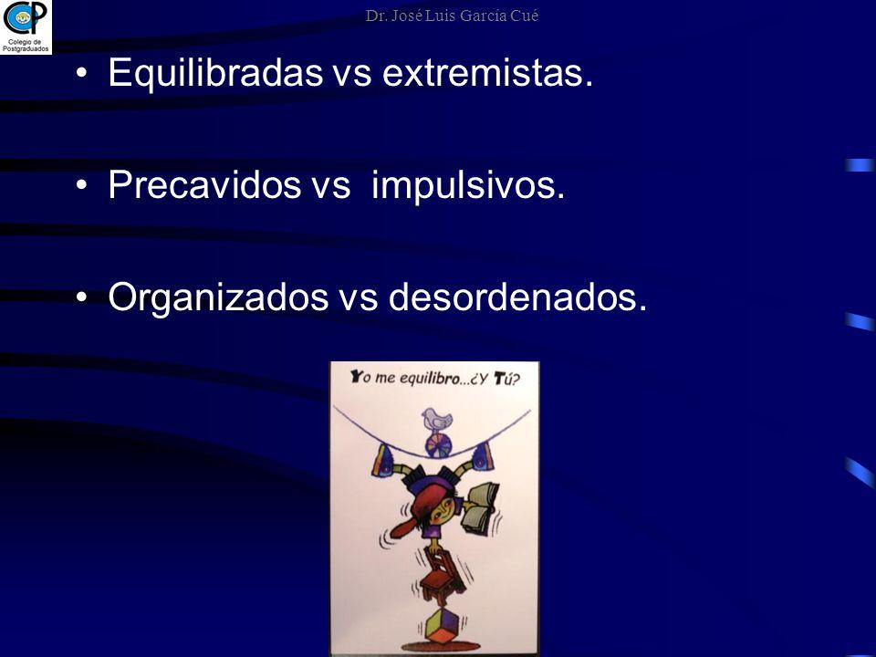Equilibradas vs extremistas. Precavidos vs impulsivos. Organizados vs desordenados. Dr. José Luis García Cué