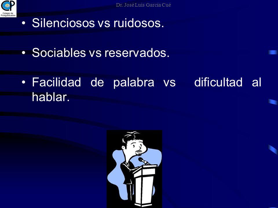Silenciosos vs ruidosos. Sociables vs reservados. Facilidad de palabra vs dificultad al hablar. Dr. José Luis García Cué