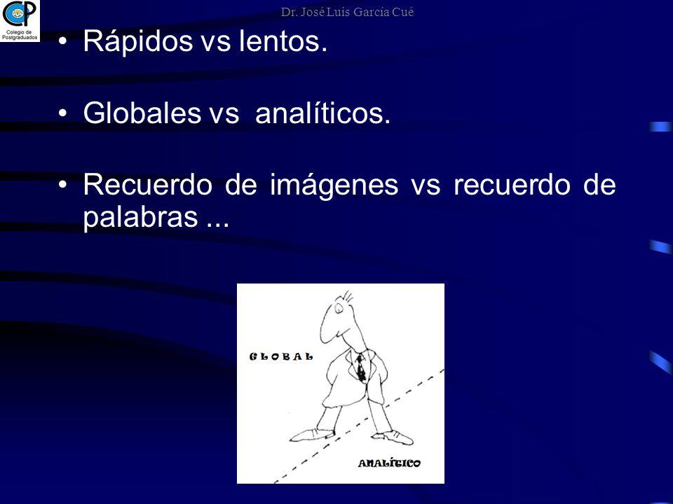 Rápidos vs lentos. Globales vs analíticos. Recuerdo de imágenes vs recuerdo de palabras... Dr. José Luis García Cué