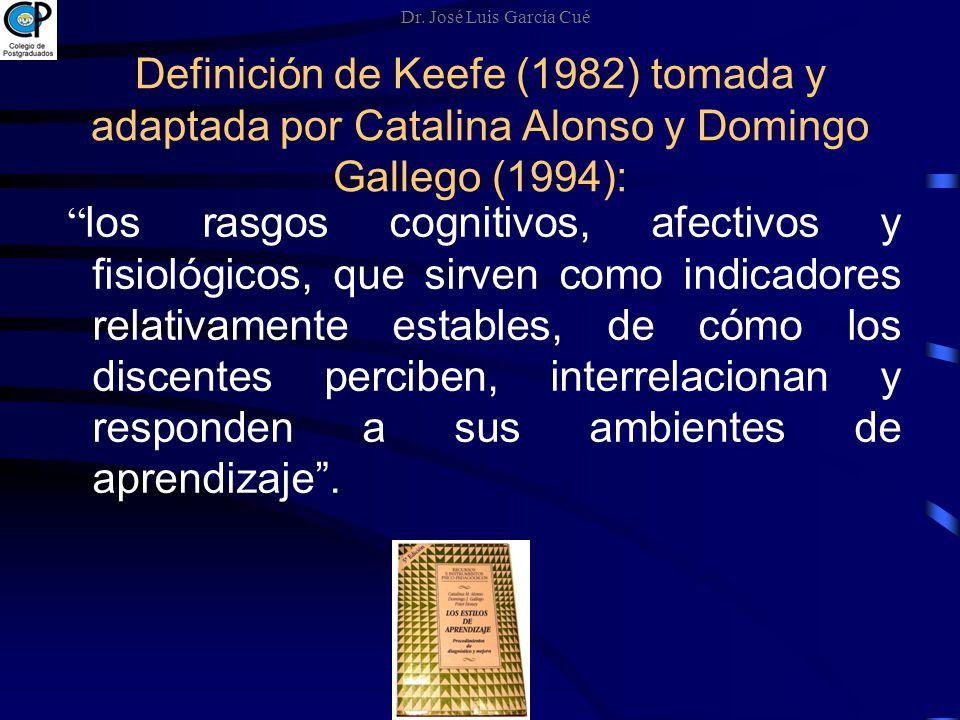 Definición de Keefe (1982) tomada y adaptada por Catalina Alonso y Domingo Gallego (1994): los rasgos cognitivos, afectivos y fisiológicos, que sirven