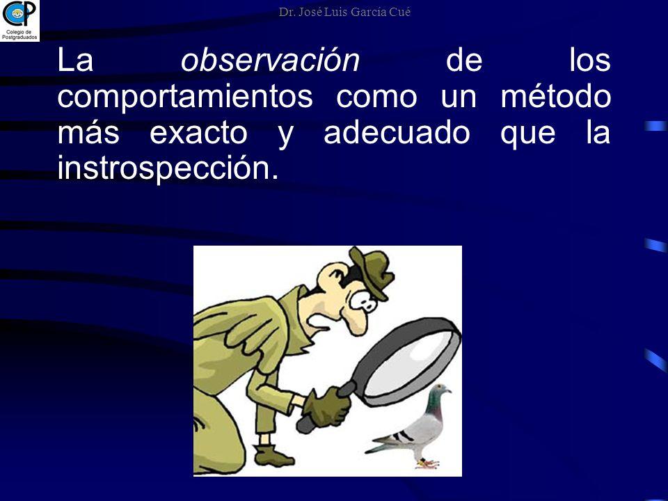 La observación de los comportamientos como un método más exacto y adecuado que la instrospección. Dr. José Luis García Cué
