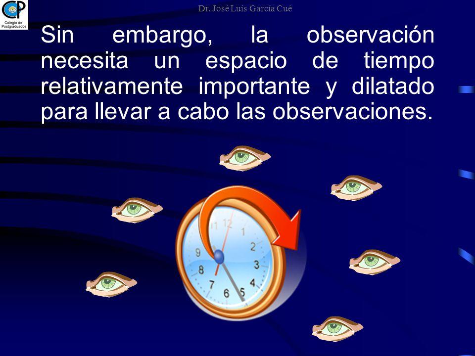 Sin embargo, la observación necesita un espacio de tiempo relativamente importante y dilatado para llevar a cabo las observaciones. Dr. José Luis Garc