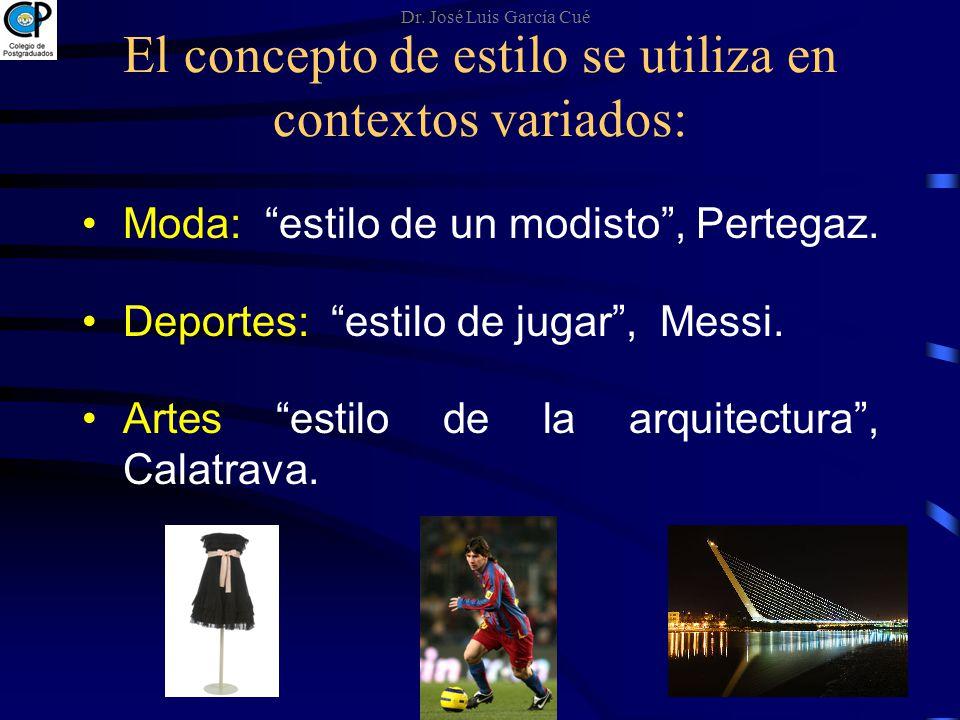 El concepto de estilo se utiliza en contextos variados: Moda: estilo de un modisto, Pertegaz. Deportes: estilo de jugar, Messi. Artes estilo de la arq