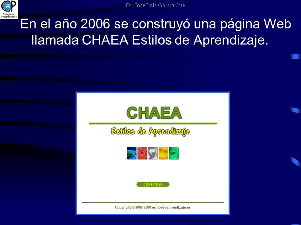 En el año 2006 se construyó una página Web llamada CHAEA Estilos de Aprendizaje. Dr. José Luis García Cué