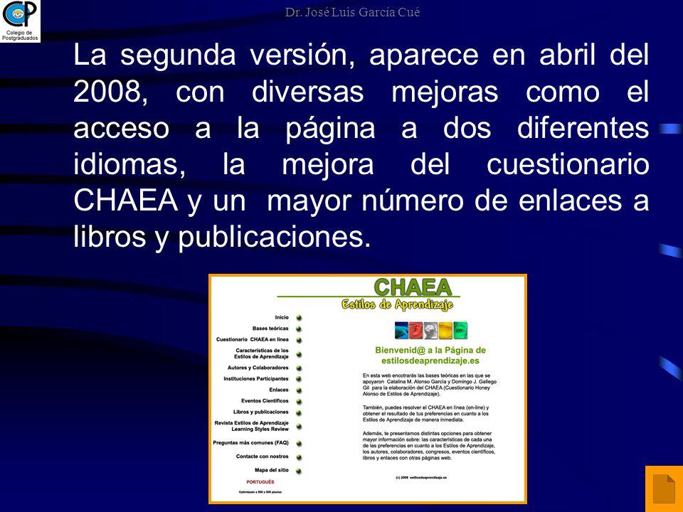 La segunda versión, aparece en abril del 2008, con diversas mejoras como el acceso a la página a dos diferentes idiomas, la mejora del cuestionario CH