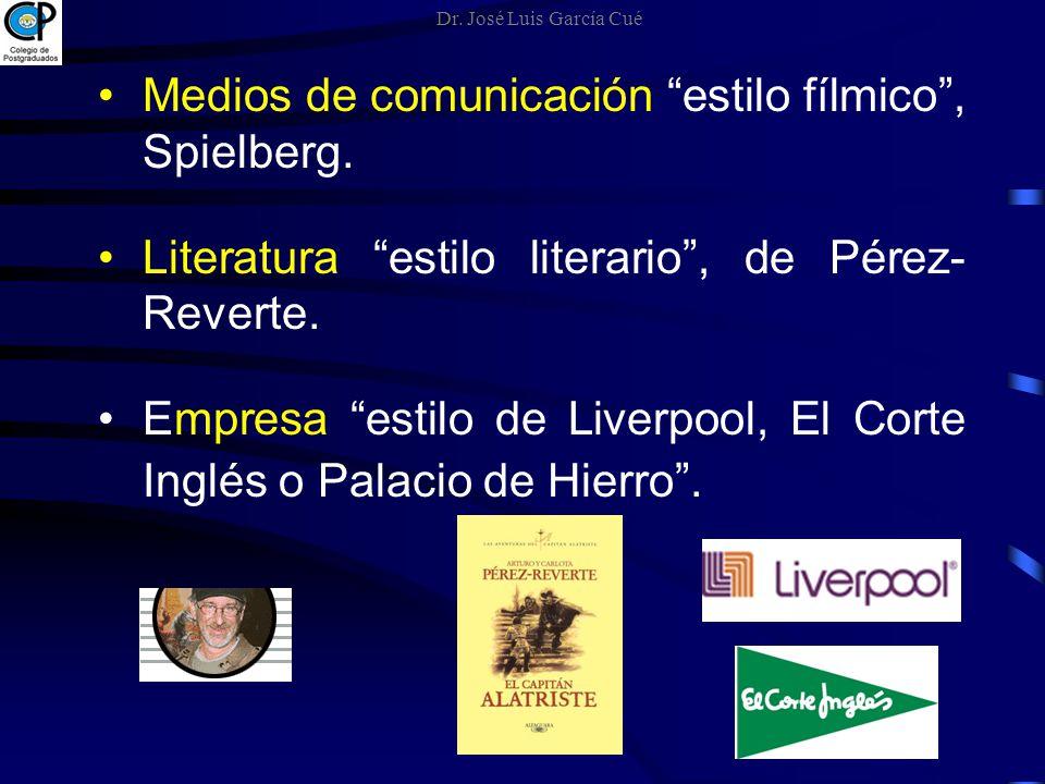 Medios de comunicación estilo fílmico, Spielberg. Literatura estilo literario, de Pérez- Reverte. Empresa estilo de Liverpool, El Corte Inglés o Palac
