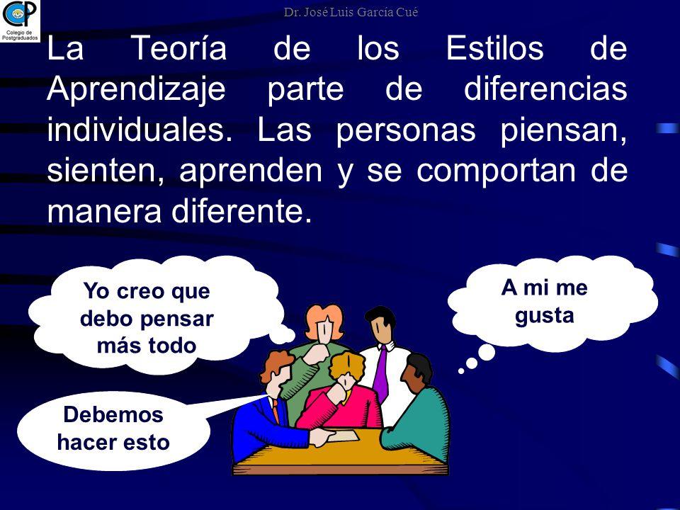 La Teoría de los Estilos de Aprendizaje parte de diferencias individuales. Las personas piensan, sienten, aprenden y se comportan de manera diferente.