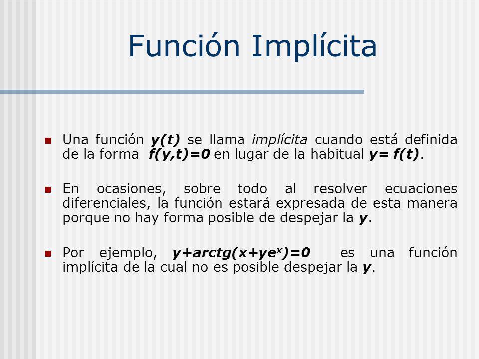 Una función y(t) se llama implícita cuando está definida de la forma f(y,t)=0 en lugar de la habitual y= f(t).