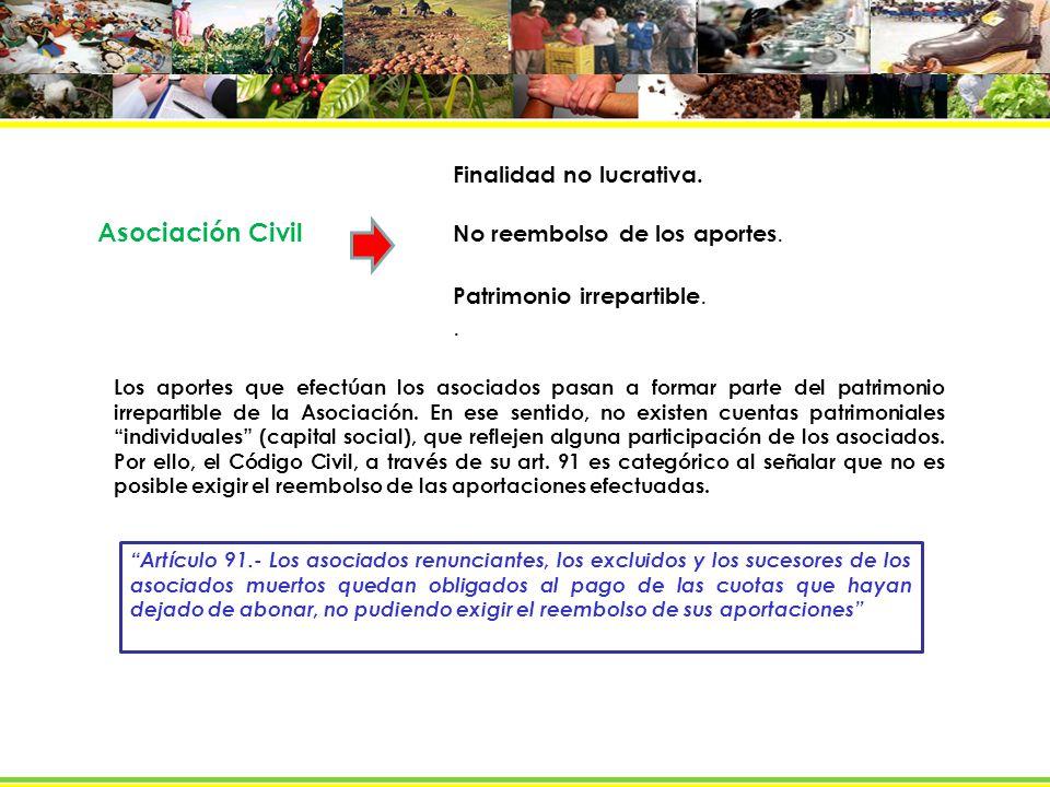 Asociación Civil Finalidad no lucrativa.No reembolso de los aportes.