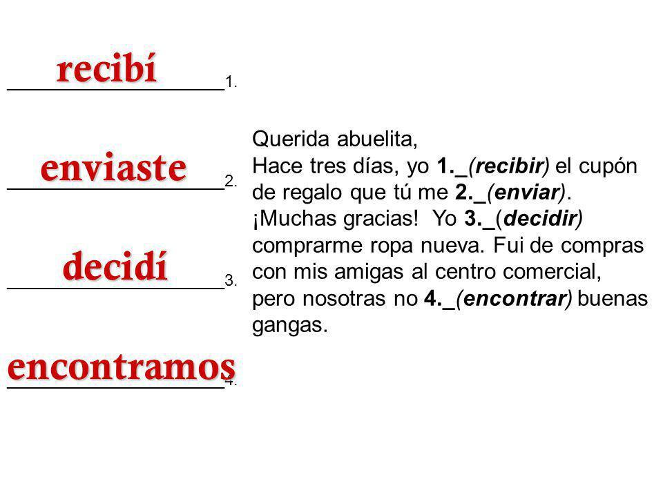 3.Traducciones Escribe el equivalente español de lo siguiente.