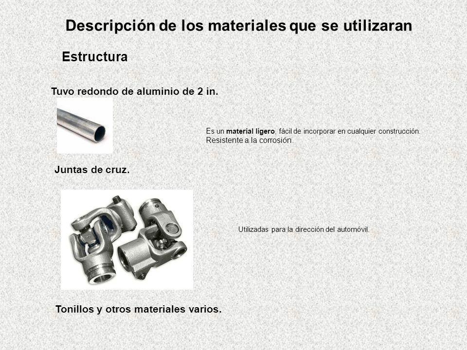 Descripción de los materiales que se utilizaran Estructura Tuvo redondo de aluminio de 2 in. E s un material ligero, fácil de incorporar en cualquier