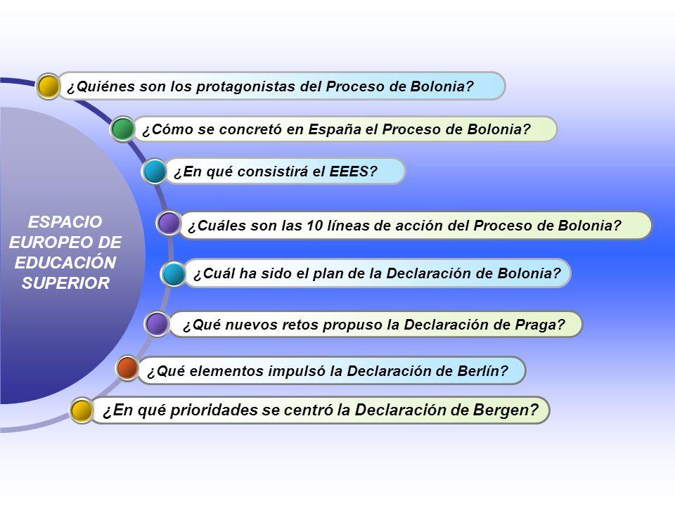 ¿Cuáles son las 10 líneas de acción del Proceso de Bolonia? ¿En qué consistirá el EEES? ¿Cómo se concretó en España el Proceso de Bolonia? ¿Quiénes so