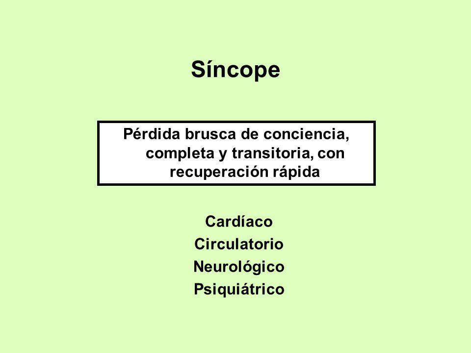 Síncope Pérdida brusca de conciencia, completa y transitoria, con recuperación rápida Cardíaco Circulatorio Neurológico Psiquiátrico