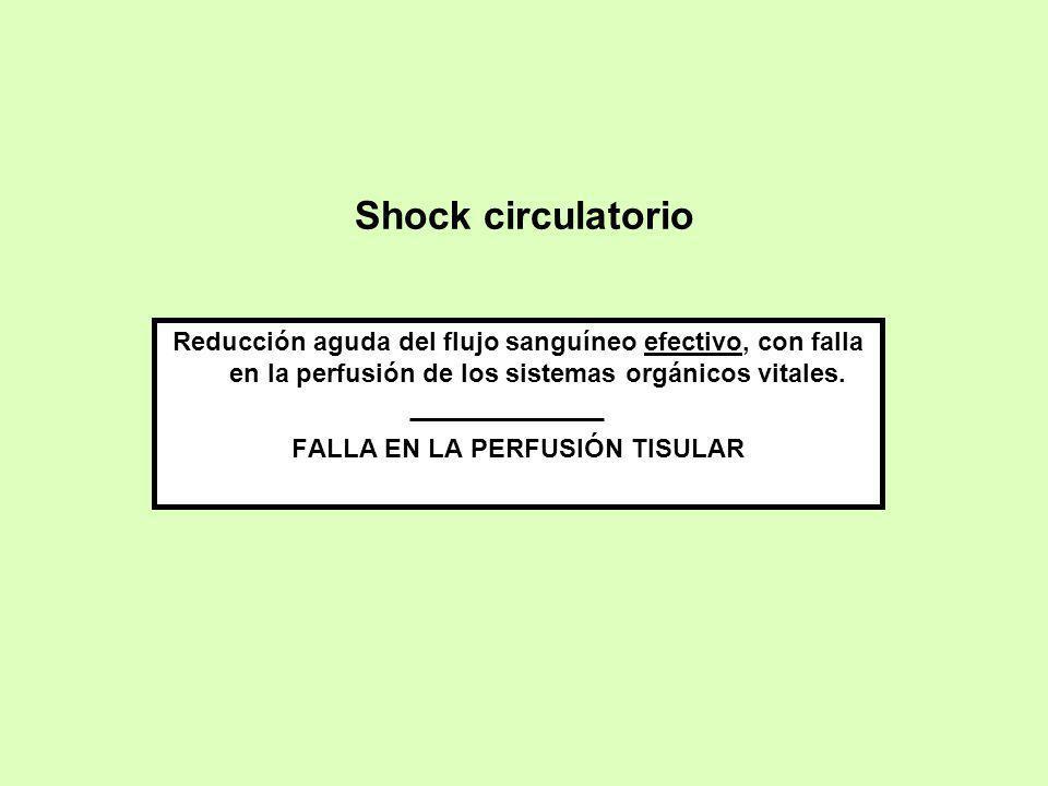 Shock circulatorio Reducción aguda del flujo sanguíneo efectivo, con falla en la perfusión de los sistemas orgánicos vitales. FALLA EN LA PERFUSIÓN TI