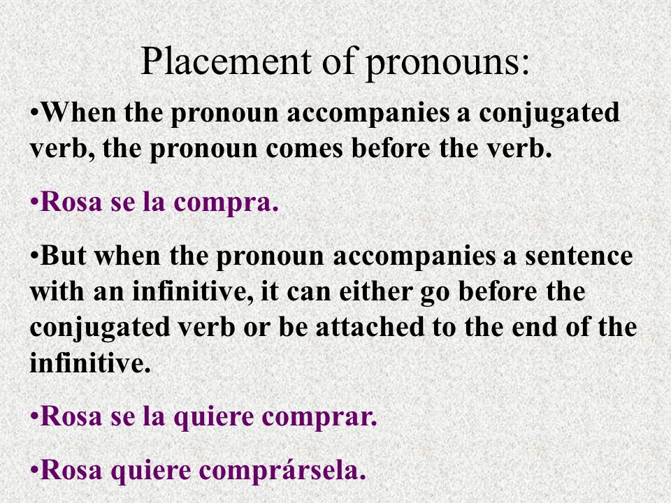 Placement of pronouns: When the pronoun accompanies a conjugated verb, the pronoun comes before the verb.