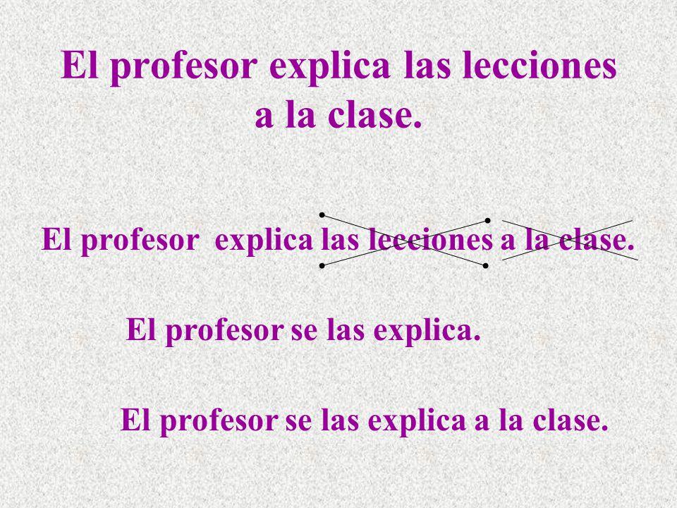 El profesor explica las lecciones a la clase. El profesor se las explica.