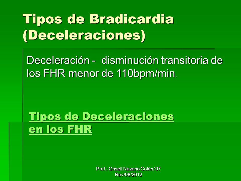 Prof.: Grisell Nazario Colón/ 07 Rev/08/2012 Tipos de Deceleraciones en los FHR Tipos de Deceleraciones en los FHR Tipos de Bradicardia (Deceleraciones) Deceleración - disminución transitoria de los FHR menor de 110bpm/min.