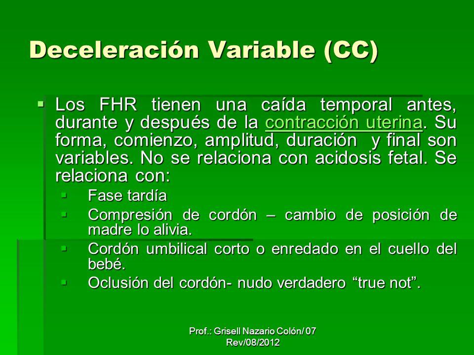 Deceleración Variable (CC) Los FHR tienen una caída temporal antes, durante y después de la contracción uterina. Su forma, comienzo, amplitud, duració