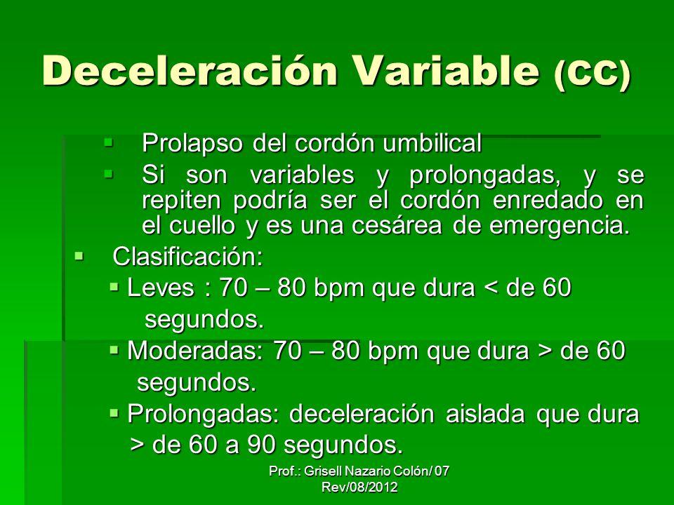 Deceleración Variable (CC) Prolapso del cordón umbilical Prolapso del cordón umbilical Si son variables y prolongadas, y se repiten podría ser el cordón enredado en el cuello y es una cesárea de emergencia.