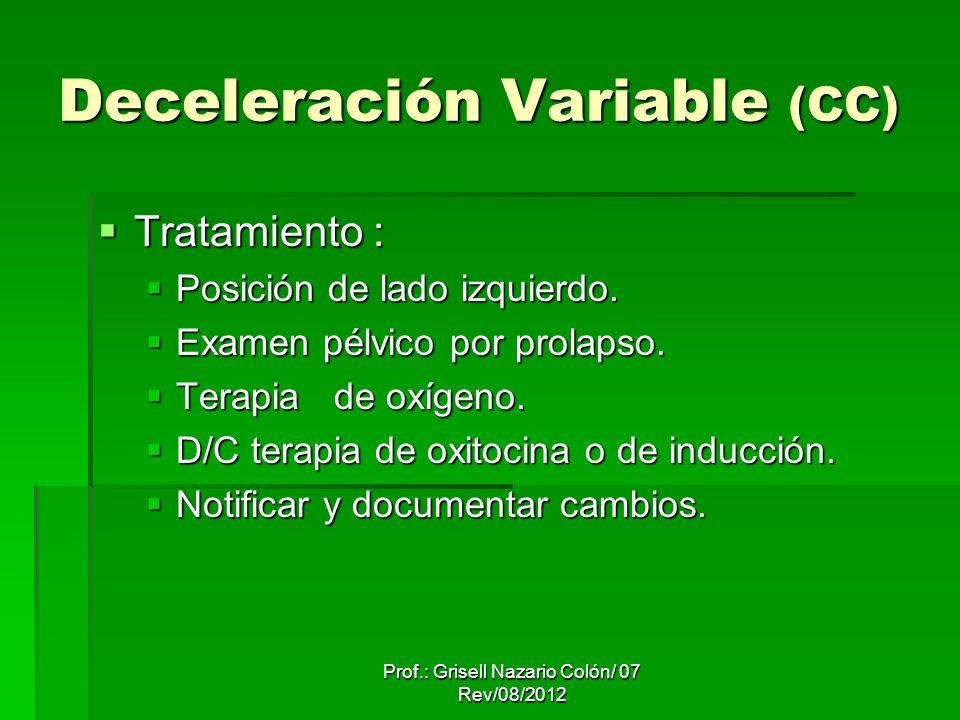 Deceleración Variable (CC) Tratamiento : Tratamiento : Posición de lado izquierdo. Posición de lado izquierdo. Examen pélvico por prolapso. Examen pél