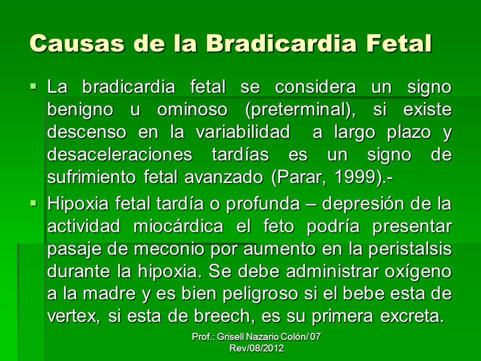 Causas de la Bradicardia Fetal La bradicardia fetal se considera un signo benigno u ominoso (preterminal), si existe descenso en la variabilidad a largo plazo y desaceleraciones tardías es un signo de sufrimiento fetal avanzado (Parar, 1999).- La bradicardia fetal se considera un signo benigno u ominoso (preterminal), si existe descenso en la variabilidad a largo plazo y desaceleraciones tardías es un signo de sufrimiento fetal avanzado (Parar, 1999).- Hipoxia fetal tardía o profunda – depresión de la actividad miocárdica el feto podría presentar pasaje de meconio por aumento en la peristalsis durante la hipoxia.