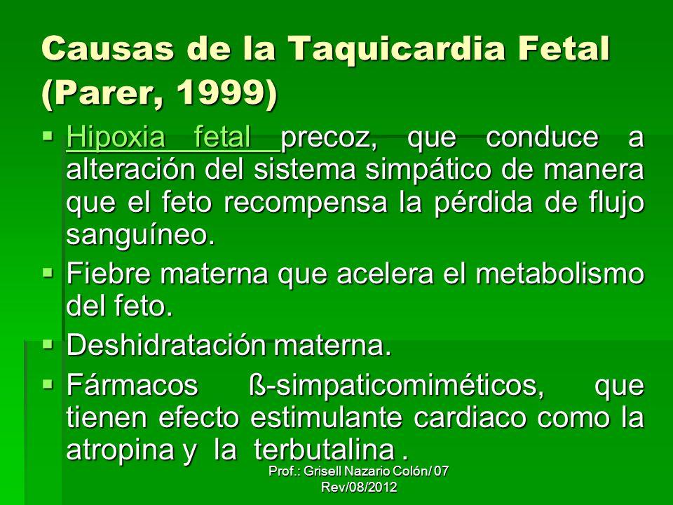 Prof.: Grisell Nazario Colón/ 07 Rev/08/2012 Causas de la Taquicardia Fetal (Parer, 1999) Hipoxia fetal precoz, que conduce a alteración del sistema simpático de manera que el feto recompensa la pérdida de flujo sanguíneo.