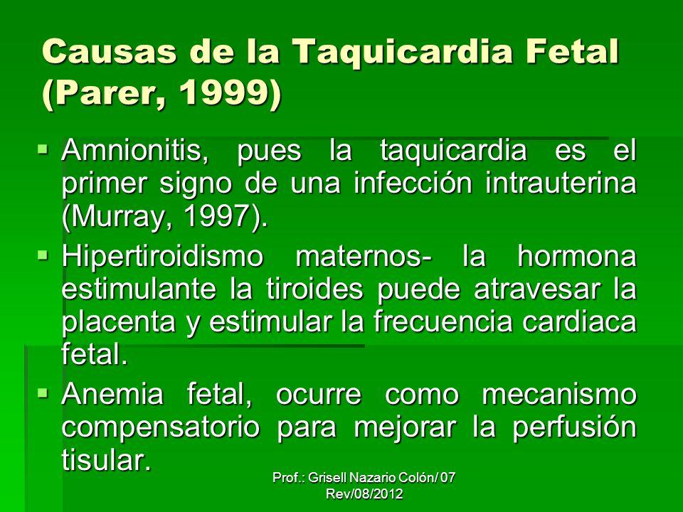 Prof.: Grisell Nazario Colón/ 07 Rev/08/2012 Causas de la Taquicardia Fetal (Parer, 1999) Amnionitis, pues la taquicardia es el primer signo de una in