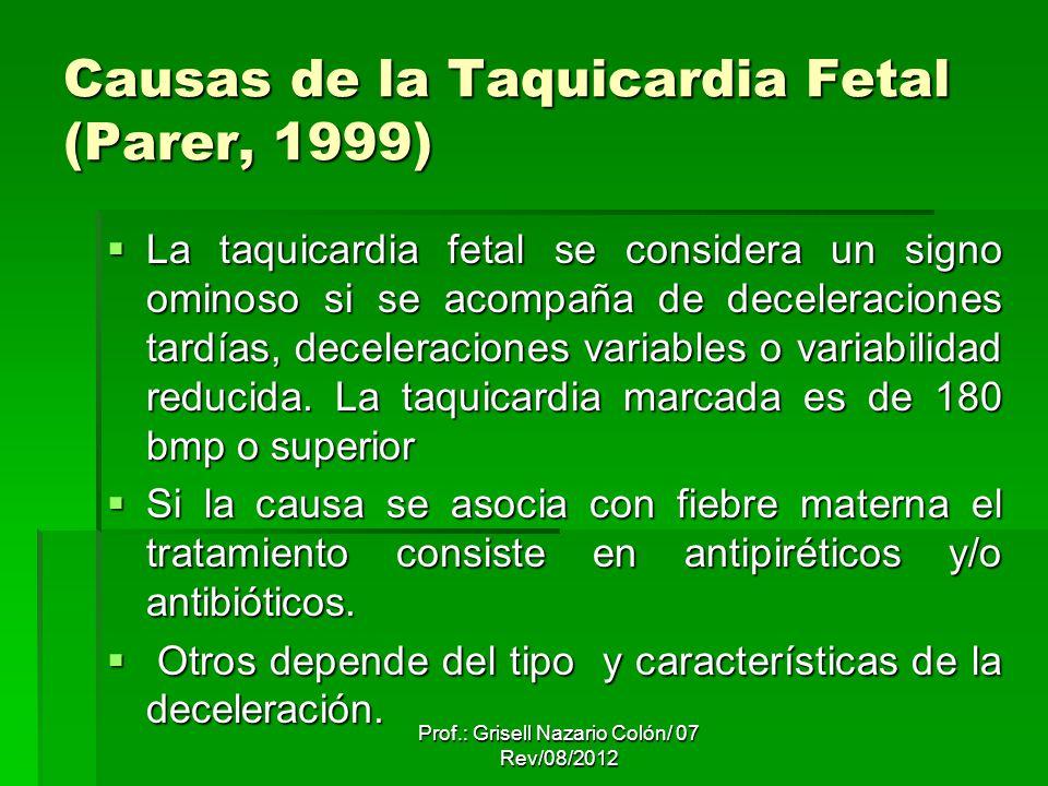 Prof.: Grisell Nazario Colón/ 07 Rev/08/2012 Causas de la Taquicardia Fetal (Parer, 1999) La taquicardia fetal se considera un signo ominoso si se acompaña de deceleraciones tardías, deceleraciones variables o variabilidad reducida.