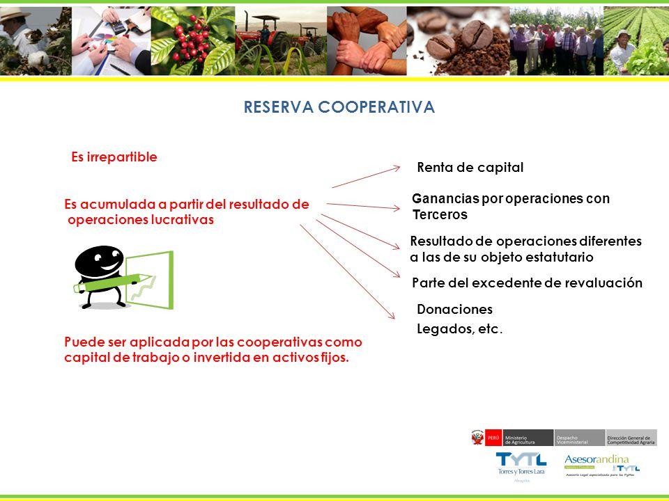 RESERVA COOPERATIVA Es irrepartible Es acumulada a partir del resultado de operaciones lucrativas Puede ser aplicada por las cooperativas como capital