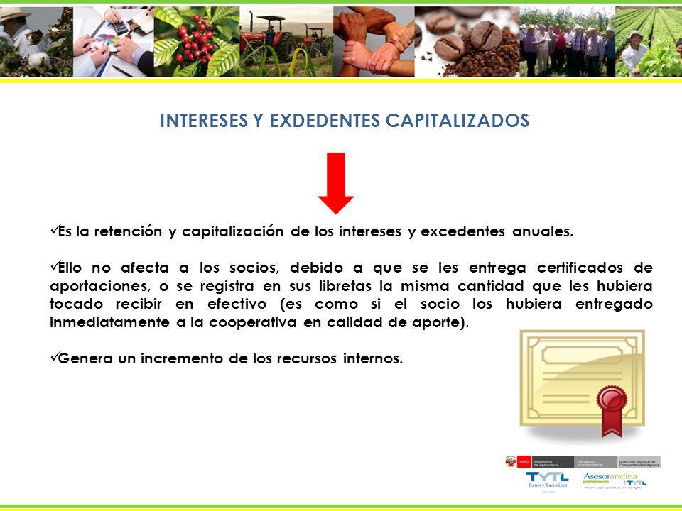 INTERESES Y EXDEDENTES CAPITALIZADOS Es la retención y capitalización de los intereses y excedentes anuales. Ello no afecta a los socios, debido a que