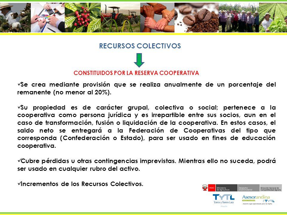 INCREMENTO DE LOS RECURSOS COLECTIVOS Por la vía del Remanente Anual MODO DIRECTO Operaciones con Socios MODO INDIRECTO Provenientes de Operaciones Lucrativas o con Terceros los socios.
