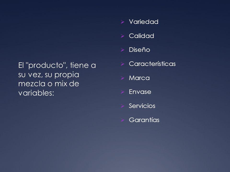 Variedad Calidad Diseño Características Marca Envase Servicios Garantías El