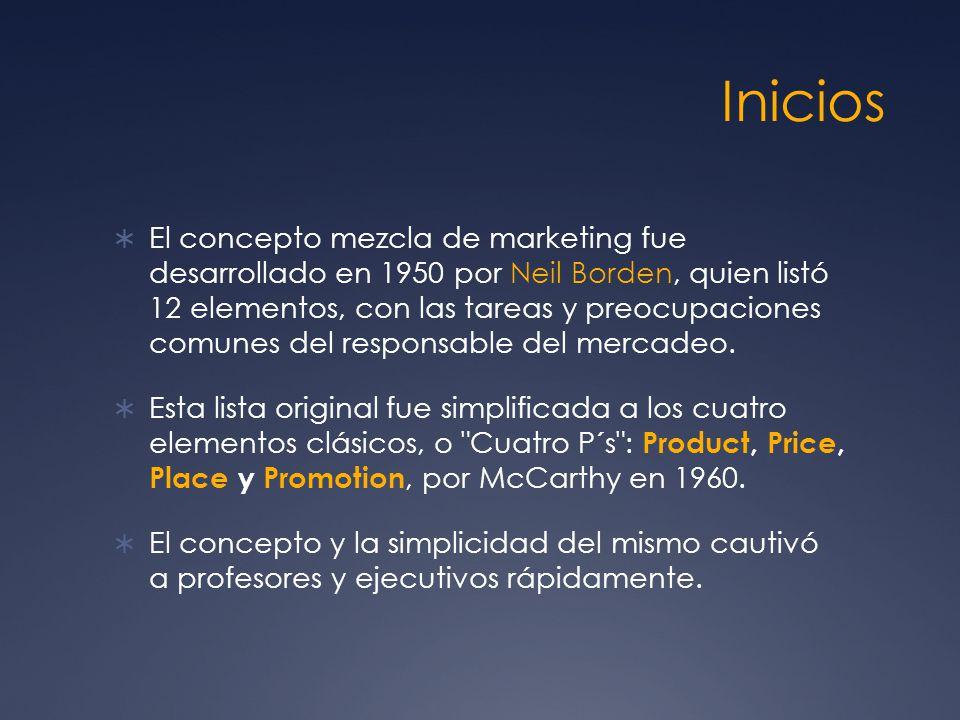 Inicios El concepto mezcla de marketing fue desarrollado en 1950 por Neil Borden, quien listó 12 elementos, con las tareas y preocupaciones comunes de