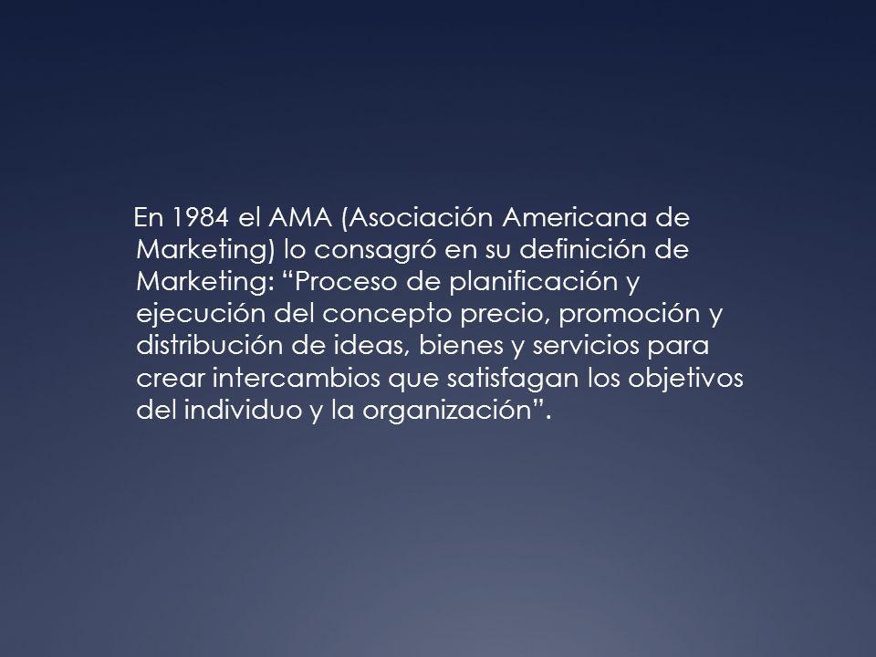 En 1984 el AMA (Asociación Americana de Marketing) lo consagró en su definición de Marketing: Proceso de planificación y ejecución del concepto precio