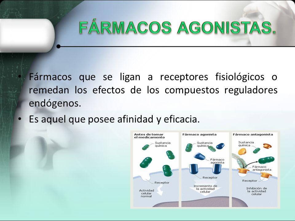 Fármacos que se ligan a receptores fisiológicos o remedan los efectos de los compuestos reguladores endógenos. Es aquel que posee afinidad y eficacia.