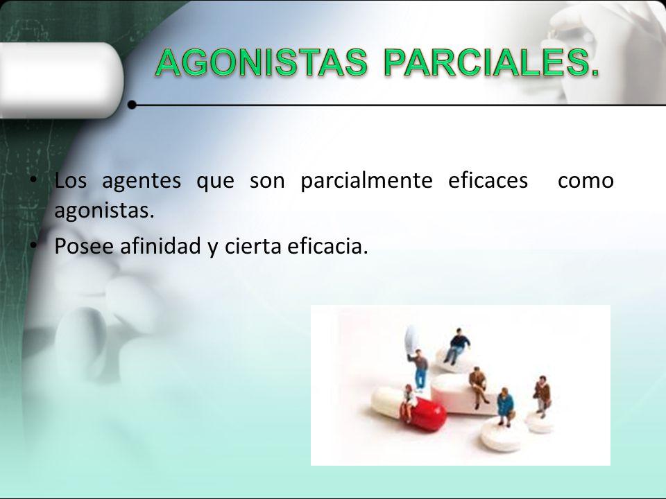 Los agentes que son parcialmente eficaces como agonistas. Posee afinidad y cierta eficacia.