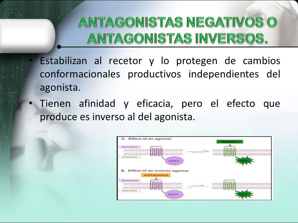 Estabilizan al recetor y lo protegen de cambios conformacionales productivos independientes del agonista. Tienen afinidad y eficacia, pero el efecto q