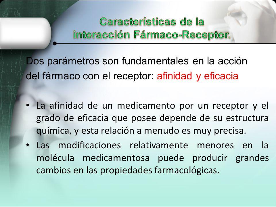 Dos parámetros son fundamentales en la acción del fármaco con el receptor: afinidad y eficacia La afinidad de un medicamento por un receptor y el grado de eficacia que posee depende de su estructura química, y esta relación a menudo es muy precisa.