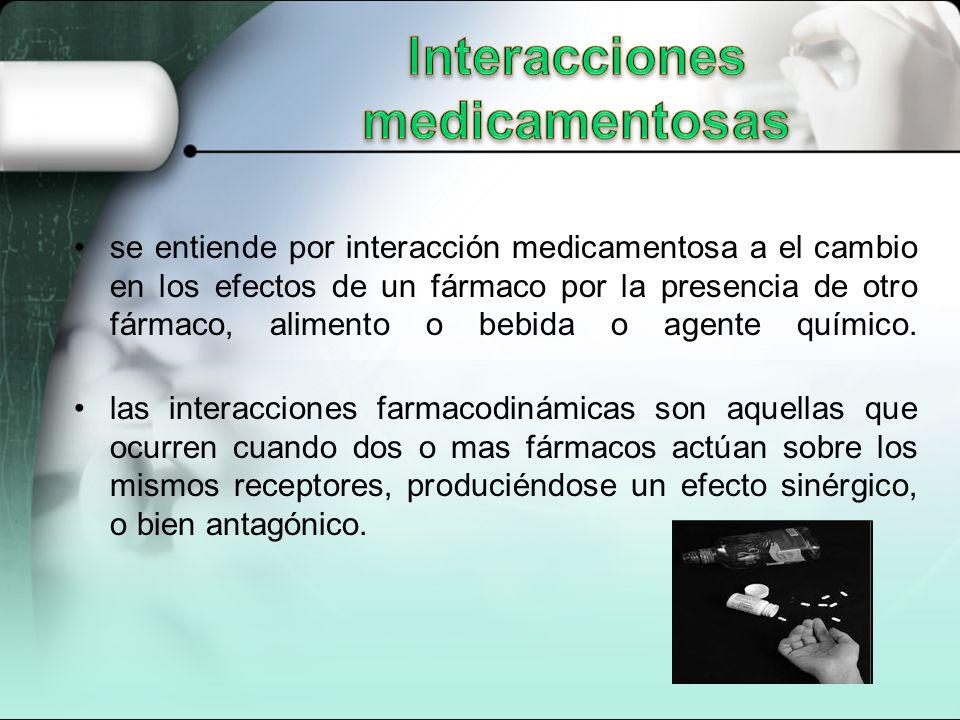 se entiende por interacción medicamentosa a el cambio en los efectos de un fármaco por la presencia de otro fármaco, alimento o bebida o agente químico.