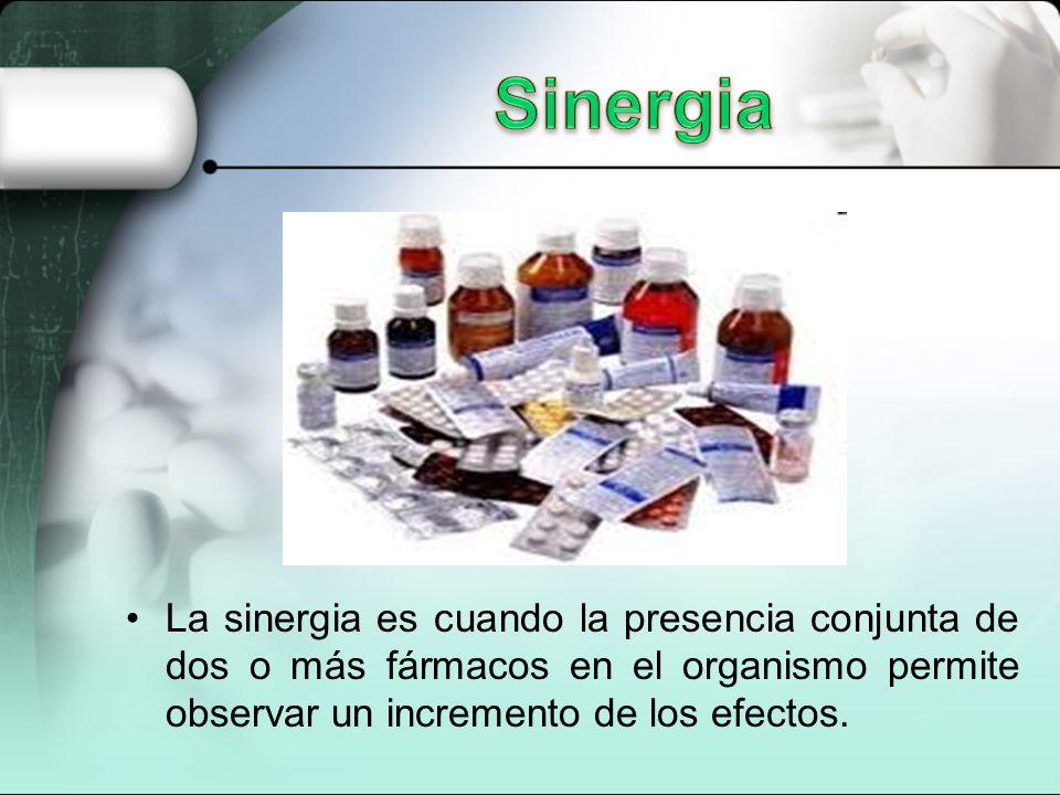 La sinergia es cuando la presencia conjunta de dos o más fármacos en el organismo permite observar un incremento de los efectos.