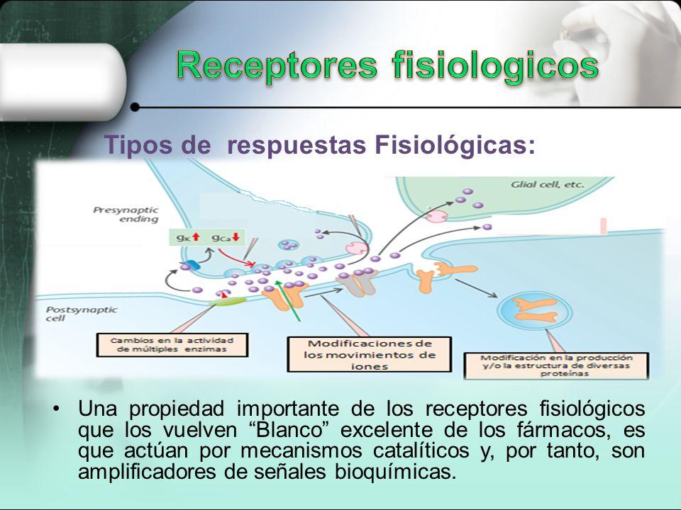 Tipos de respuestas Fisiológicas: Una propiedad importante de los receptores fisiológicos que los vuelven Blanco excelente de los fármacos, es que actúan por mecanismos catalíticos y, por tanto, son amplificadores de señales bioquímicas.